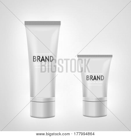 Set of white tube mock-up for cream, tooth paste, gel, toner. Cosmetic concept. Vector illustration.