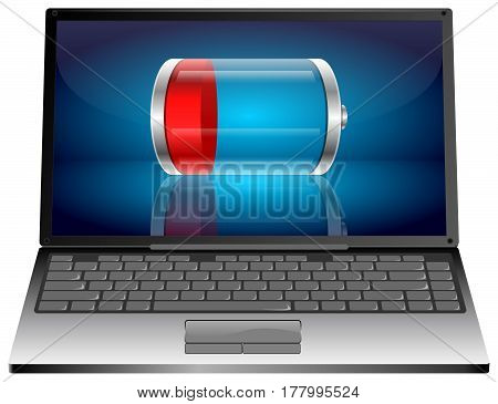 Laptop computer with red battery - 3D illustration