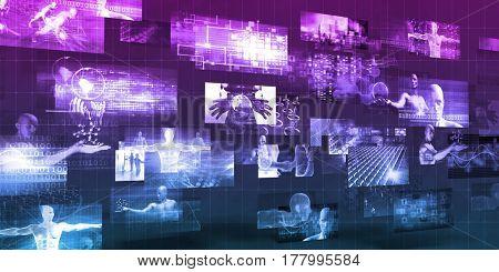 Multimedia Technology For Internet Sharing as Concept 3D Illustration Render