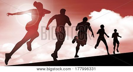 Silhouette of Joggers Running Against the Sun 3D Illustration Render