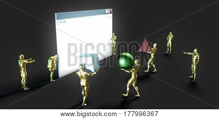 Internet World Wide Web Abstract Tech Background 3D Illustration Render