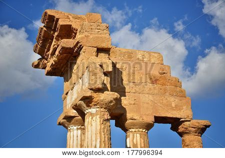 Temple of Castor and Pollux in the Valley of Temples near Agrigento, Sicily