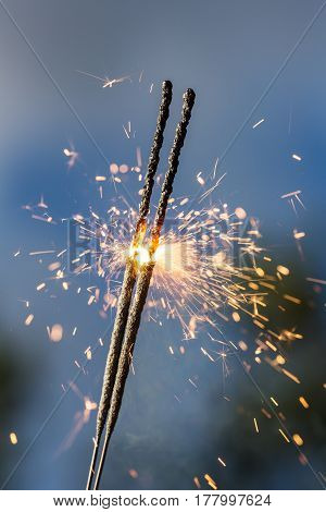 Bright sparks closeup on a natural background