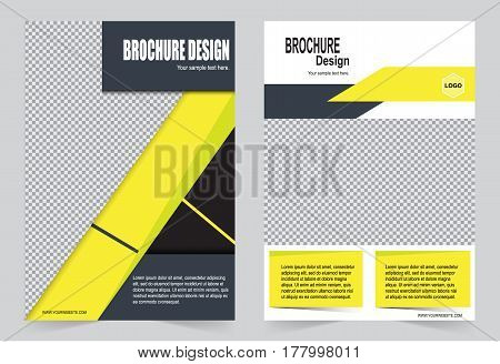 Yellow Brochure template flyer design abstract template for annual report magazine poster