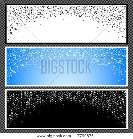 Set of horizontal banners. Abstract backgrounds of alphabet symbols. World book and copyright day. International Day of writer. World Book Day. Studying and learning concept. Illustration. Vector.