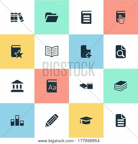 Vector Illustration Set Of Simple Education Icons. Elements Online Education, Letter, Archive And Other Synonyms Folder, Blank And Document.