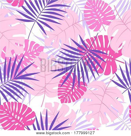Vector color illustration of palm leaves background. Exotic seamless pattern