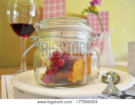 Pumpkin Pie With A Branch Of Red Currant In The Serving Bank