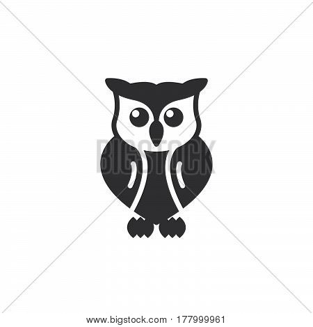Owl icon vector filled flat sign solid pictogram isolated on white. Symbol logo illustration