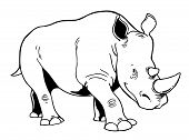 Rhinoceros on a white background. Vector illustration. poster