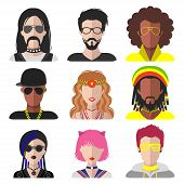Vector set of different subcultures man and woman app icons in trendy flat style. Goth, raper, hippy, hipster, raver, rocker, rastafarian, anime and disco fan web images. poster