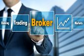 Broker touchscreen is operated by businessman picture poster