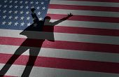 American dream success and business entrepreneur excitement or immigration celebration as the shadow of a happy person on a USA flag in a 3D illustration style. poster