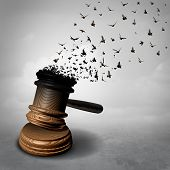 Amnesty concept and law decline or symbol for a legal pardon as a judge gavel or mallet being transformed into free flying birds as a justice metaphor for clemency or injustice and liberty as a 3D illiustration. poster
