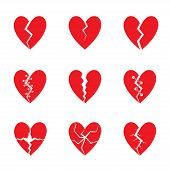 Broken Red heart icon set. Tragedy, drama concept poster