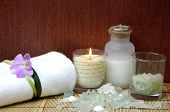 Spa and beauty treatment. Soothing therapy with seasalt in bowl poster