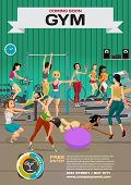 Template for a poster on the gym. Reception and  gymnasium. Woman goes in for sports. Vector flat cartoon illustration poster