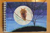 Illustration on a notepad with a binding: an eagle owls on a tree branch against the background of the moon. Night sky and a starfall poster