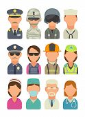 Set icon people different professions. Soldier, officer, pilot, marine, sailor, police, bodyguard, fireman, paramedic and medic. Vector flat illustration on turquoise circle poster
