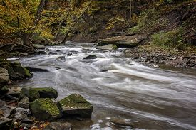Beautiful autumn scene of the winding rapids of Tinker's Creek in Cleveland Ohio.