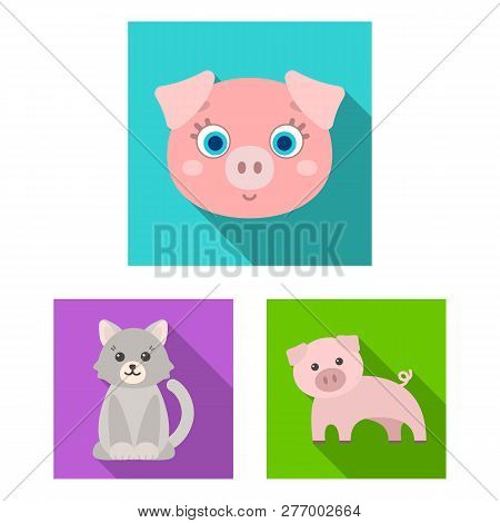 Vector Illustration Of Animal And Habitat Logo. Collection Of Animal And Farm Stock Symbol For Web.