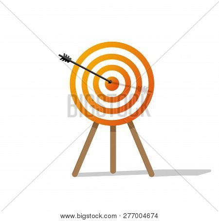 Target Hit. Target With Arrow Isolated On White Background. Arrow Hitting Target. Target With Arrow