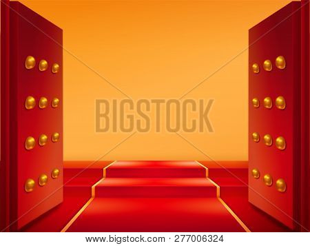 Opened Gates Gold Red Vector Photo Free Trial Bigstock