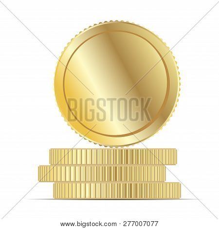 Gold Coin Money Stack Flat Vector Illustration. Round Penny Cartoon Icon. Business Income Earnings.