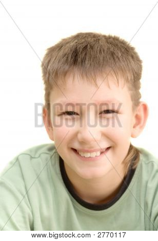 Smiling Teenager. Isolated On White