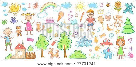 Child Drawings. Kids Doodle Paintings, Children Crayon Drawing And Hand Drawn Kid Vector Illustratio