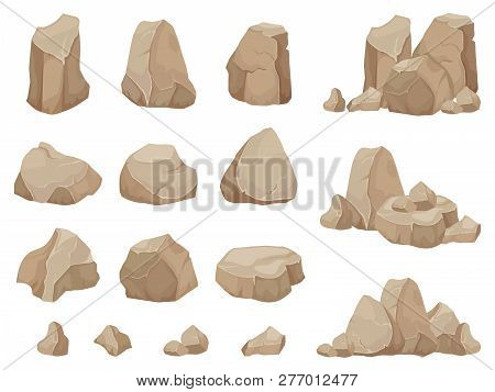 Stone Rock. Stones Boulder, Gravel Rubble And Pile Of Rocks Cartoon Isolated Vector Set
