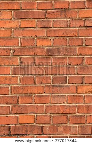 Old Empty Brick House Factory Wall With Red Bricks
