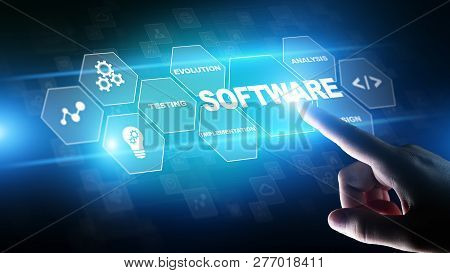 Software Development And Business Process Automation, Internet And Technology Concept On Virtual Scr