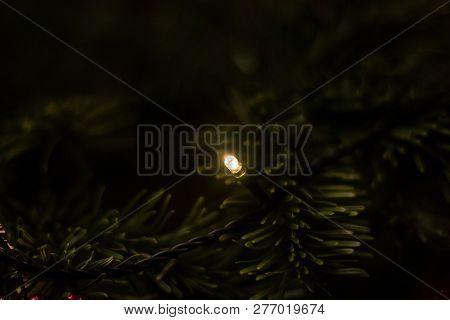 Decorated Christmas Tree With Candlelight And Dark Green Branches