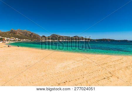 Port De Pollenca, Beautiful Coast Beach On Majorca Island, Spain