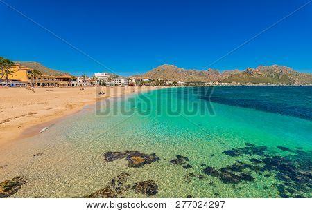 Idyllic View Of Bay Of Pollenca On Mallorca Island, Spain