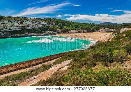 Beautiful Bay Beach Cala Romantica, S Estany D En Mas On Mallorca, Spain Mediterranean Sea