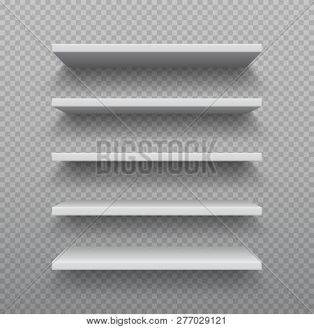 Realistic bookshelf. White plywood empty wall shelf, modern hardwood furniture, set of 3D business retail shelves vector illustration poster