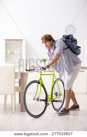 Student commuting to university using cycle