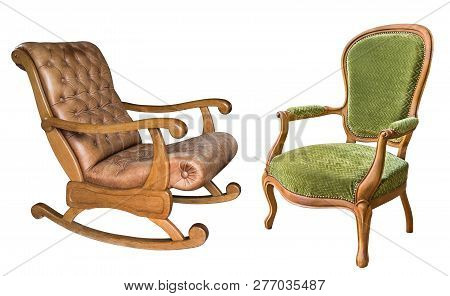 Two Gorgeous Vintage Armchairs Isolated On White Background. Wooden Rocking Chair With Brown Leather