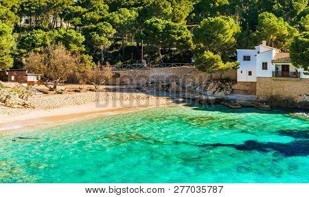 Idyllic Bay Beach Cala Gat In Cala Ratjada, Majorca, Spain Balearic Islands