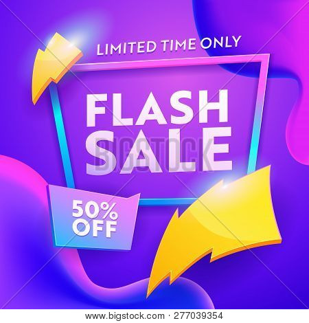 Flash Sale Discount Modern Poster. Online Ecommerce Retail Promotion Wholesale Gradient Template. Li
