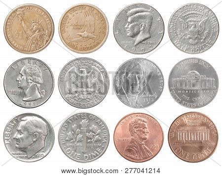 Full Set Of American Coins Isolated On White Background