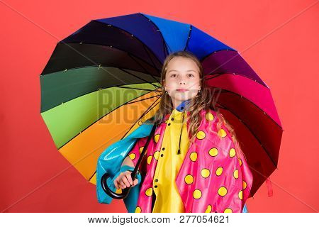 Waterproof accessories make rainy day cheerful and pleasant. Kid girl happy hold colorful umbrella wear waterproof cloak. Enjoy rainy weather with proper garments. Waterproof accessories manufacture poster