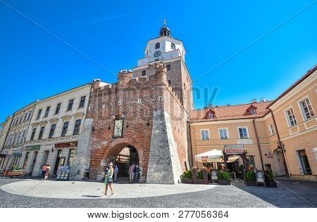 Lublin, Poland - August 10, 2017: Old Cracow Gate In Lublin, Poland. Lublin Old Town City Center, Po