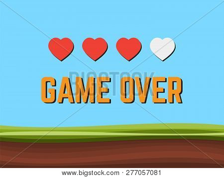 Game Over Pixel Art Arcade Game Screen Vector Illustration. Arcade Retro Banner, Digital Pixel 8-bit
