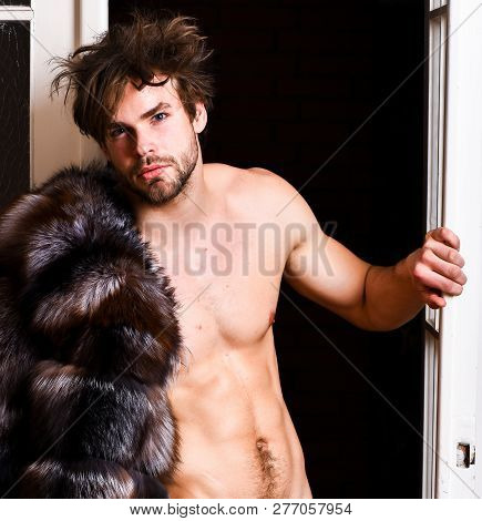 Sexy Macho Tousled Hair Coming Out Bedroom Door. Bachelor Rich Lover. Guy Attractive Posing Fur Coat