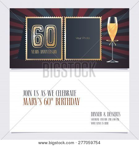 60 Years Anniversary Invitation Vector Illustration. Graphic Design Template With Collage Of Empty P