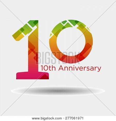Logo Or Icon Anniversary With Colorful Modern Pattern. Flat Logo Concept. 10 Years Anniversary.