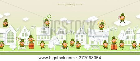 St. Patricks Day, Seamless Border With Funny Leprechauns On The Background Of The Street Of White Ho